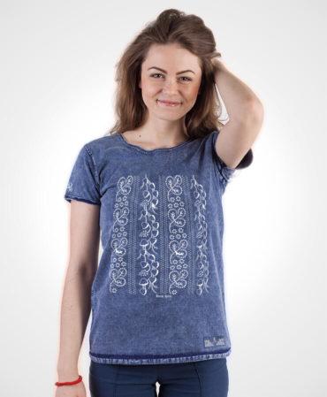 Dámske tričko Modrotlač Horehronie – NAD TATROU jeans modré