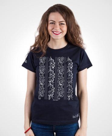 Dámske tričko Modrotlač Horehronie – NAD TATROU navy modré