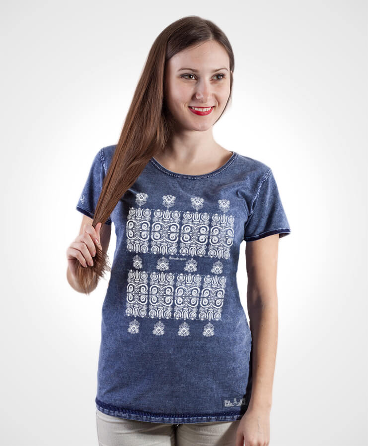 Dámske tričko Modrotlač Kremnica – NAD TATROU jeans modré