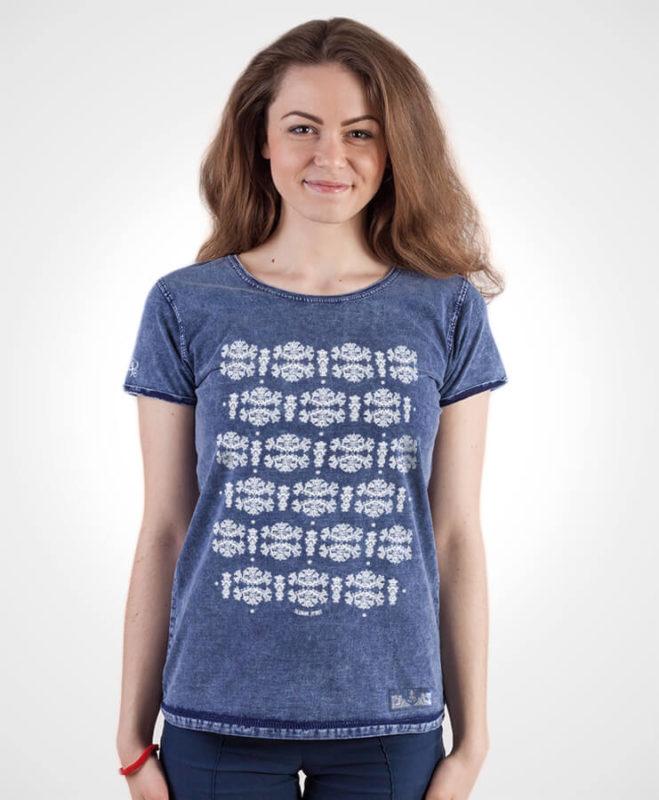 Dámske tričko Modrotlač Liptov – NAD TATROU jeans modré