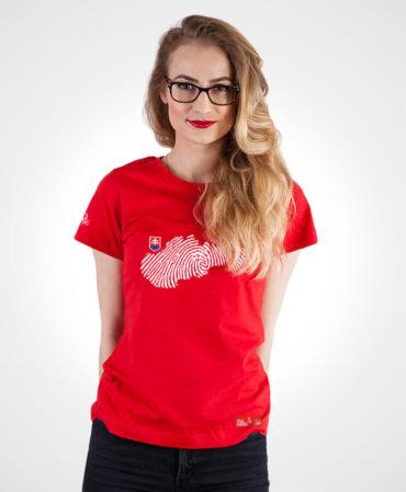 Dámske tričko s potlačou Odtlačok – NAD TATROU červené
