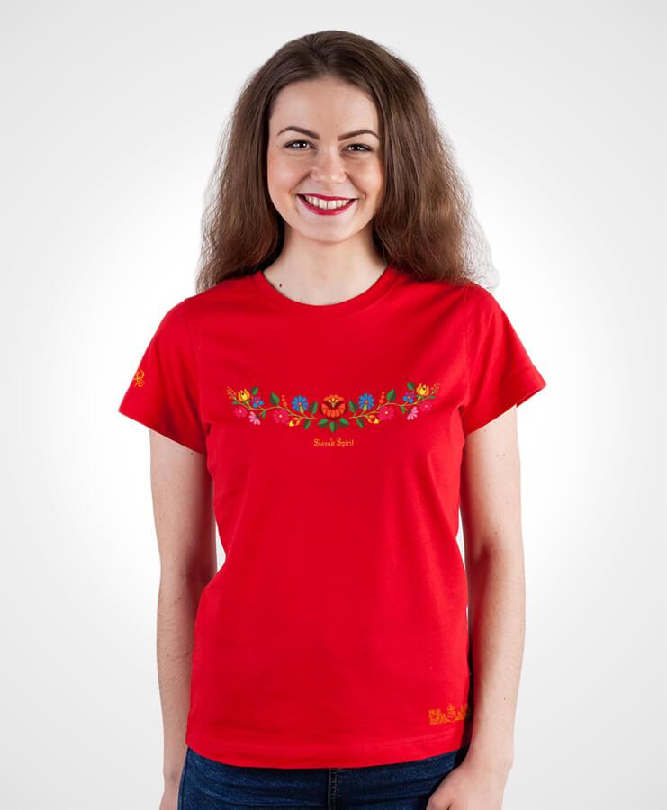 855be35d9cd0 Dámske tričko Ornament poľné kvety NAD TATROU červené. Symbol optimizmu.
