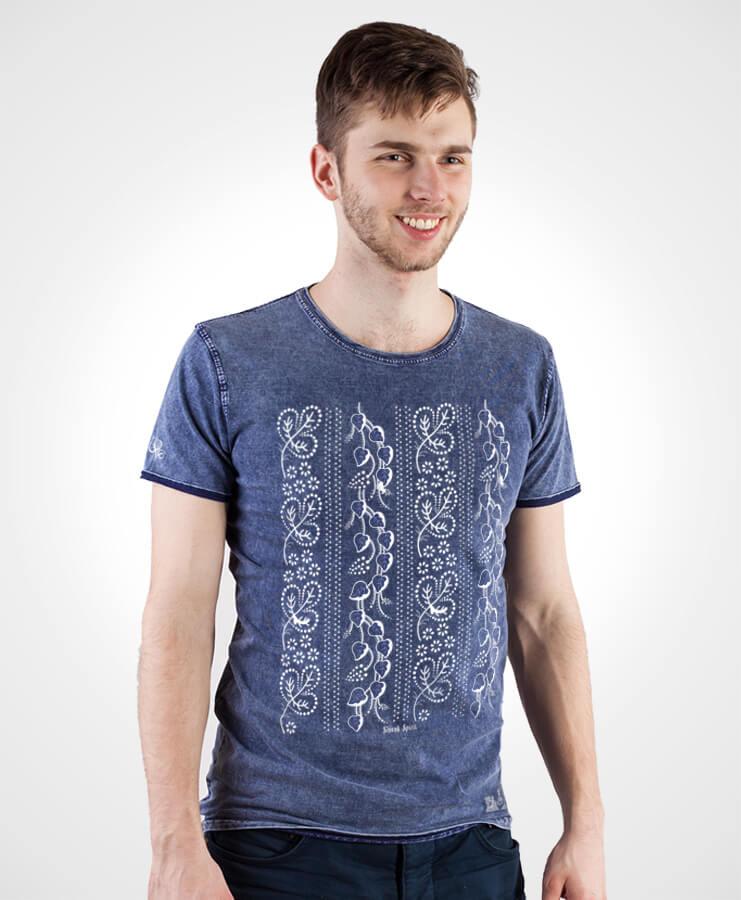 Pánske tričko Modrotlač Horehronie – NAD TATROU jeans modré