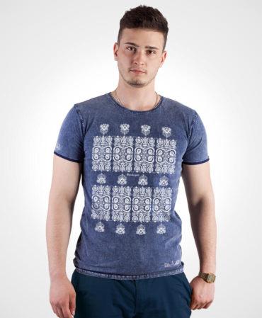 Pánske tričko Modrotlač Kremnica – NAD TATROU jeans modré
