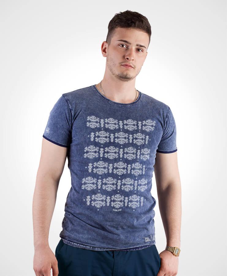 Pánske tričko Modrotlač Liptov – NAD TATROU jeans modré