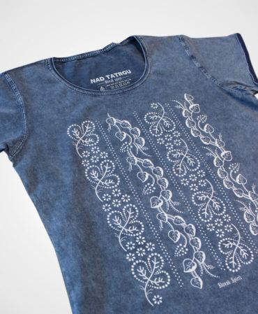 Tričko Modrotlač Horehronie – NAD TATROU jeans modré