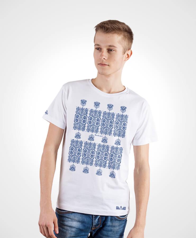 Pánske tričko Modrotlač Kremnica – NAD TATROU biele