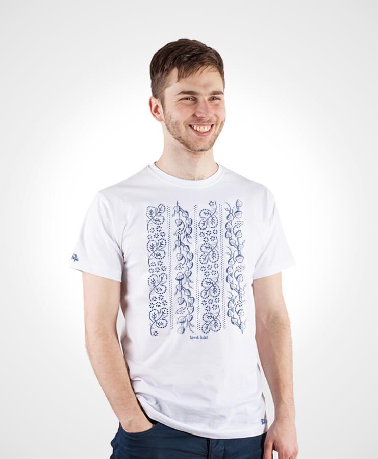 Pánske tričko Modrotlač Horehronie – NAD TATROU biele