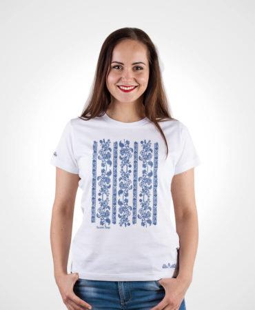 Dámske tričko Modrotlač Modrý Kameň – NAD TATROU biele