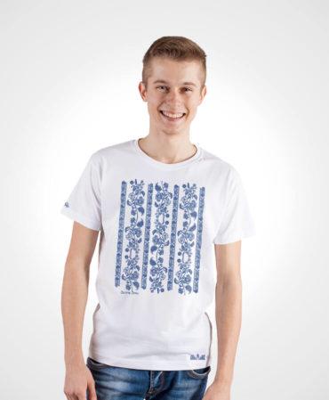 Pánske tričko Modrotlač Modrý Kameň – NAD TATROU biele