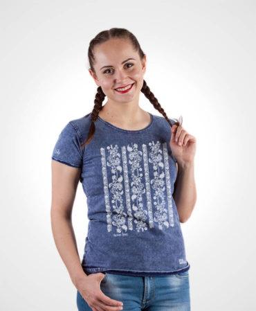 Dámske tričko Modrotlač Modrý Kameň – NAD TATROU jeans modré