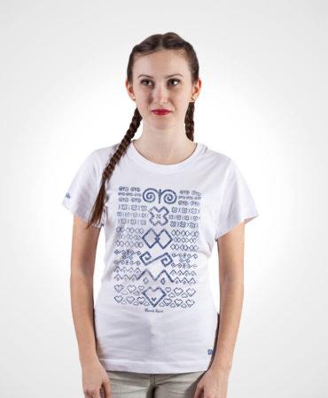 Dámske tričko Čičmany – NAD TATROU biele s tmavým vzorom
