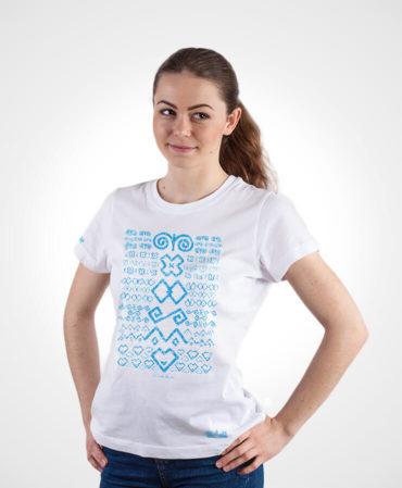 Dámske tričko Čičmany – NAD TATROU biele so svetlým vzorom