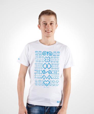 Pánske tričko Čičmany – NAD TATROU biele so svetlým vzorom