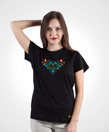 Dámske folklórne tričko Lucia – NAD TATROU čierne