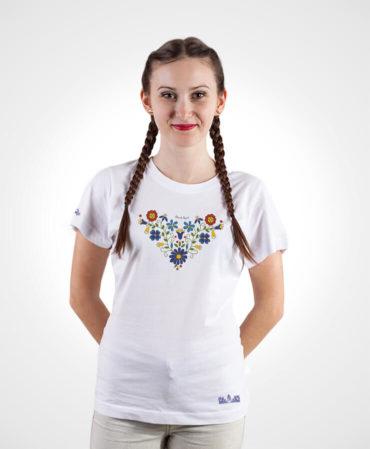 Dámske folklórne tričko Lucia – NAD TATROU biele
