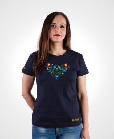 Dámske folklórne tričko Lucia – NAD TATROU navy modré