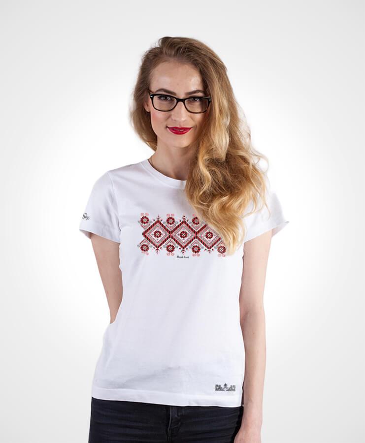 Dámske folklórne tričko Pieniny – NAD TATROU biele