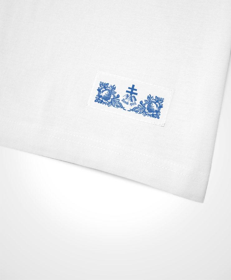 Tričká s potlačou NAD TATROU - biele tričko so tmavomodroupotlačou