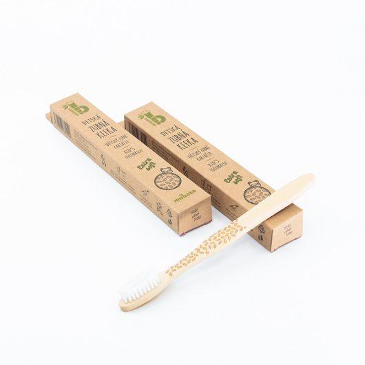 Detská bambusová kefka so vzorom Vŕbové lístky balenie