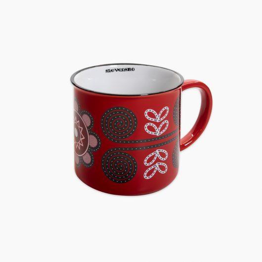 Folklórny hrnček s ľudovým vzorom Torysky červený