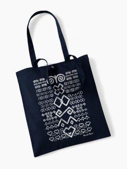 Eko taška s potlačou Čičmany tmavo modrá