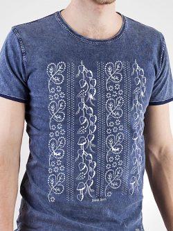 Pánske tričko Modrotlač Horehronie džínsovo modré - Slovak Spirit
