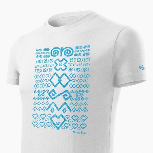Pánske tričko Čičmanský vzor biele detail - Slovak Spirit