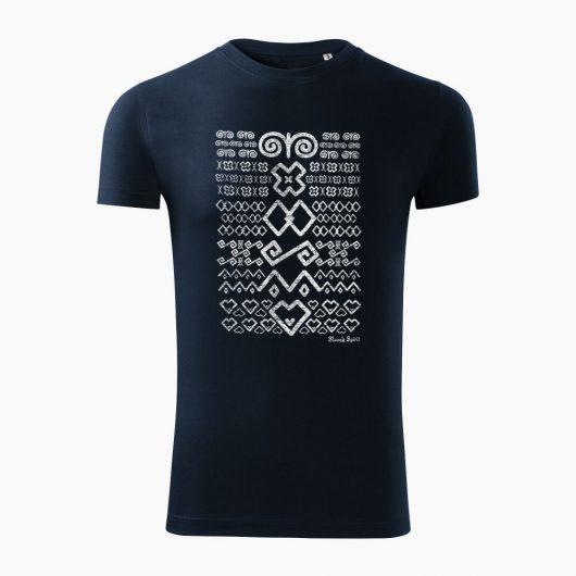 Pánske tričko Čičmanský vzor tmavo modré - Slovak Spirit