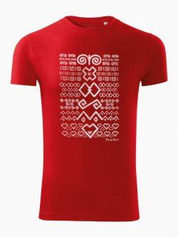 Pánske tričko Čičmanský vzor červené - Slovak Spirit