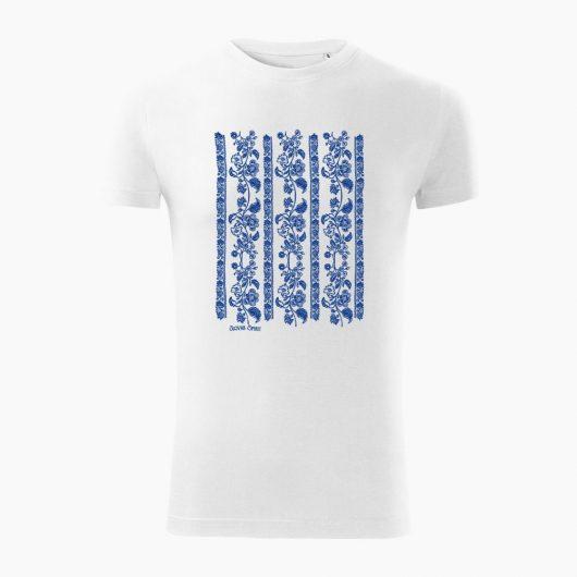Pánske tričko Modrotlač Modrý Kameň biele - Slovak Spirit