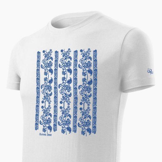 Pánske tričko Modrotlač Modrý Kameň biele detail - Slovak Spirit