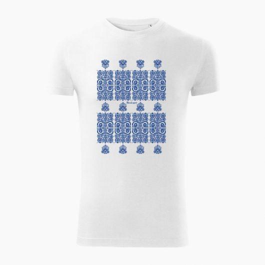 Pánske tričko Modrotlač Kremnica biele - Slovak Spirit