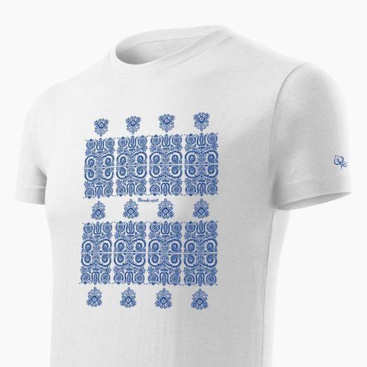 Pánske tričko Modrotlač Kremnica biele detail - Slovak Spirit