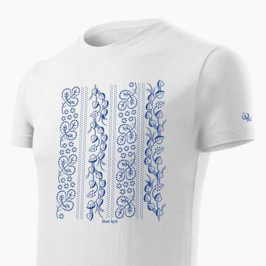 Pánske tričko Modrotlač Horehronie biele detail - Slovak Spirit