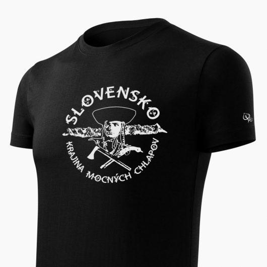 Pánske tričko Juraj Jánošík čierne detail - Slovak Spirit