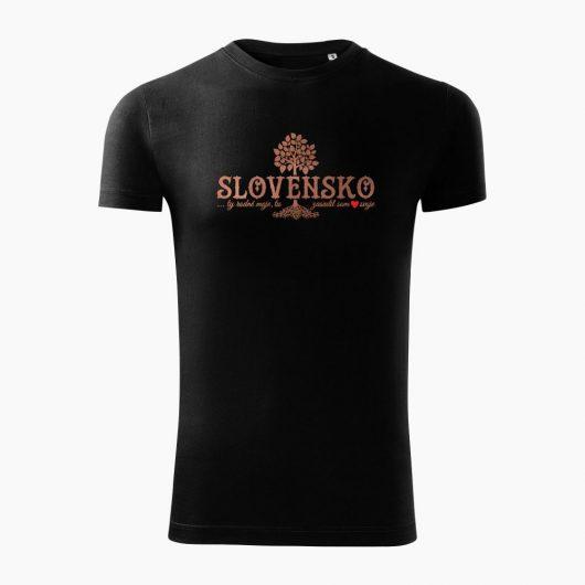 Pánske tričko Slovenské korene čierne - Slovak Spirit