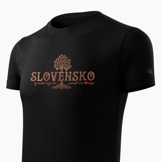 Pánske tričko Slovenské korene čierne detail - Slovak Spirit