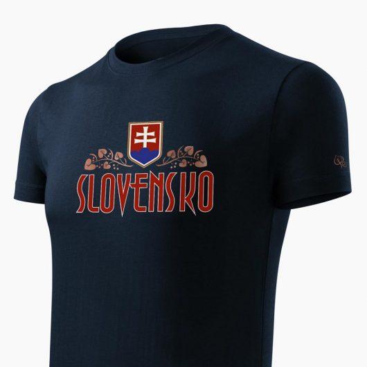 Pánske tričko Slovenská Lipa tmavo modré detail - Slovak Spirit