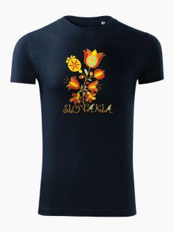 Pánske tričko Slovakia Kvet tmavo modré - Slovak Spirit