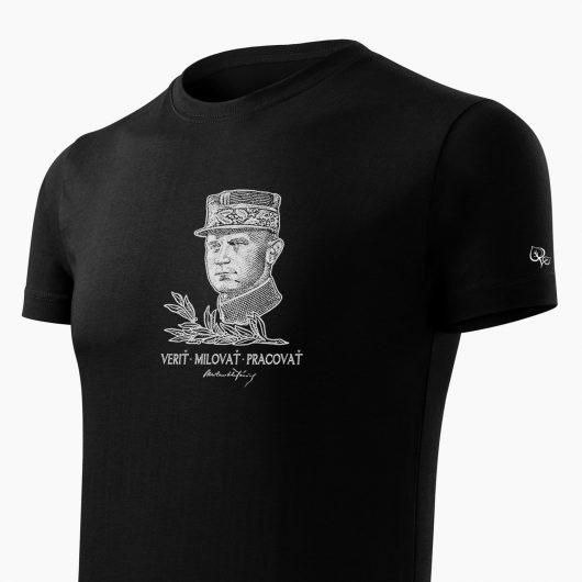 Pánske tričko Milan Rastislav Štefánik čierne detail - Slovak Spirit