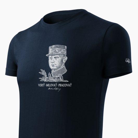 Pánske tričko Milan Rastislav Štefánik tmavo modré detail - Slovak Spirit