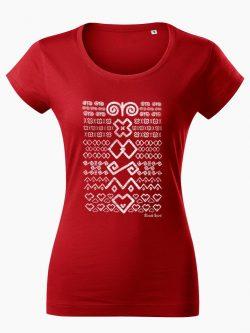 Dámske tričko Čičmanský vzor červené - Slovak Spirit