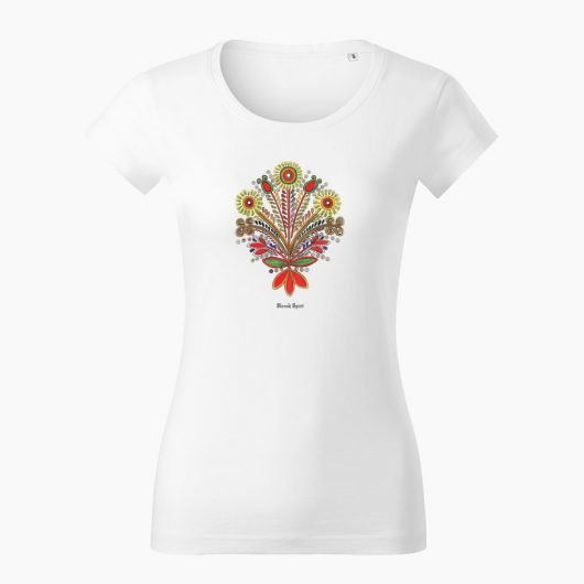Dámske tričko Ornament kytica biele - Slovak Spirit