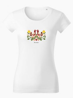 Dámske tričko Ornament prepeličky biele - Slovak Spirit