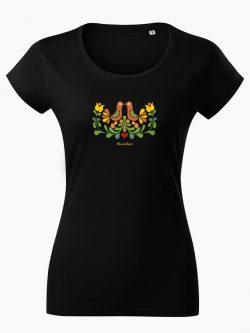 Dámske tričko Ornament prepeličky čierne - Slovak Spirit