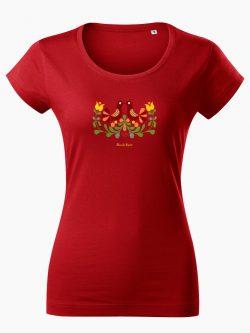 Dámske tričko Ornament prepeličky červené - Slovak Spirit