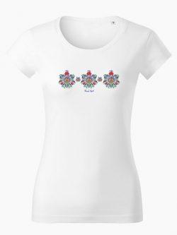 Dámske tričko Ľudový vzor Marína biele - Slovak Spirit