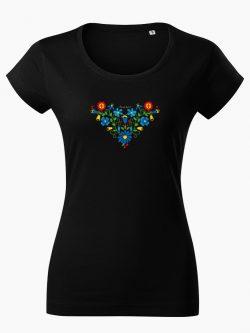 Dámske tričko Ľudový vzor Lucia čierne - Slovak Spirit