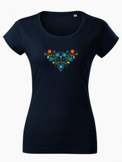 Dámske tričko Ľudový vzor Lucia tmavo modré - Slovak Spirit